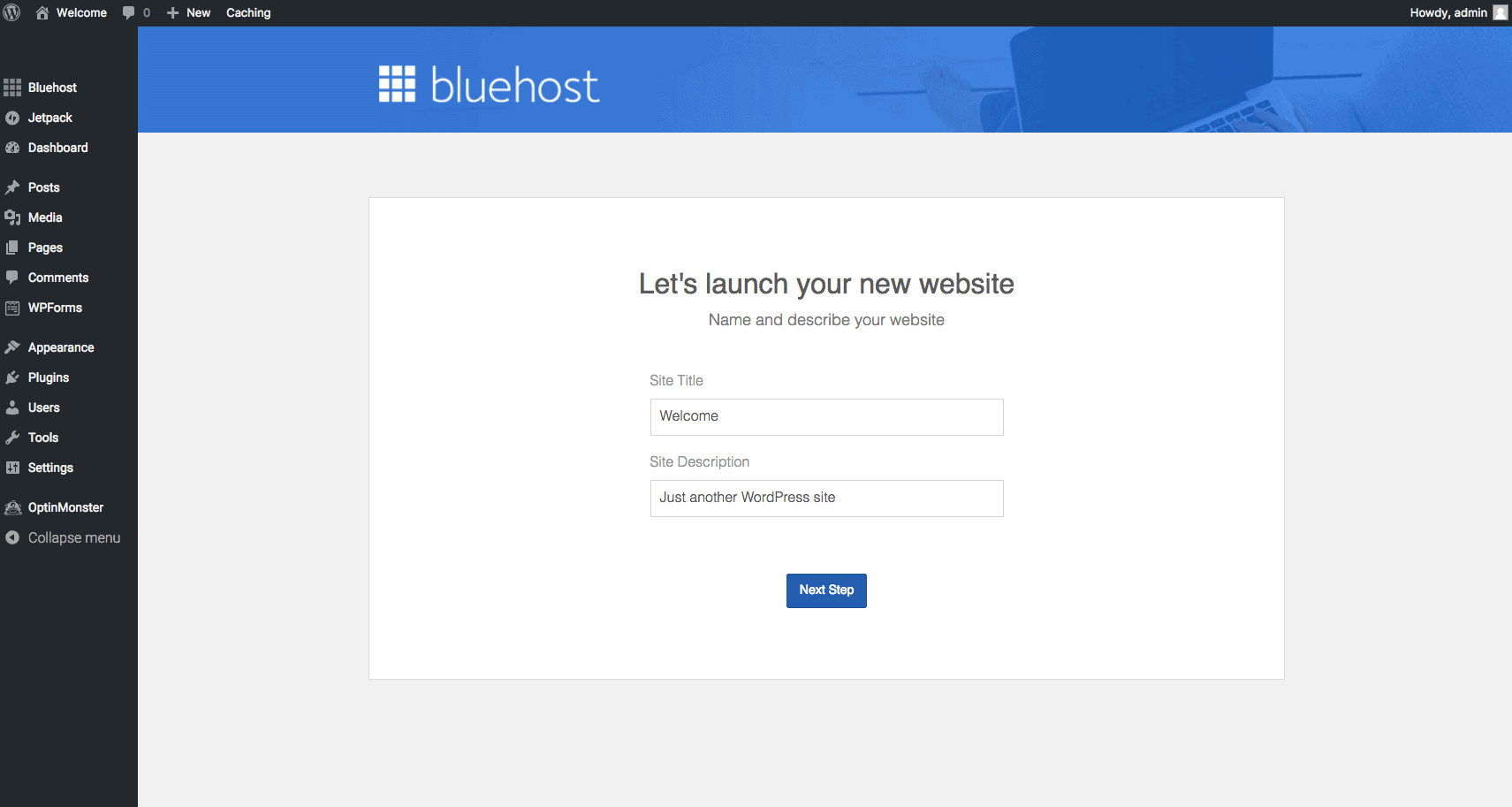 Bluehost set up