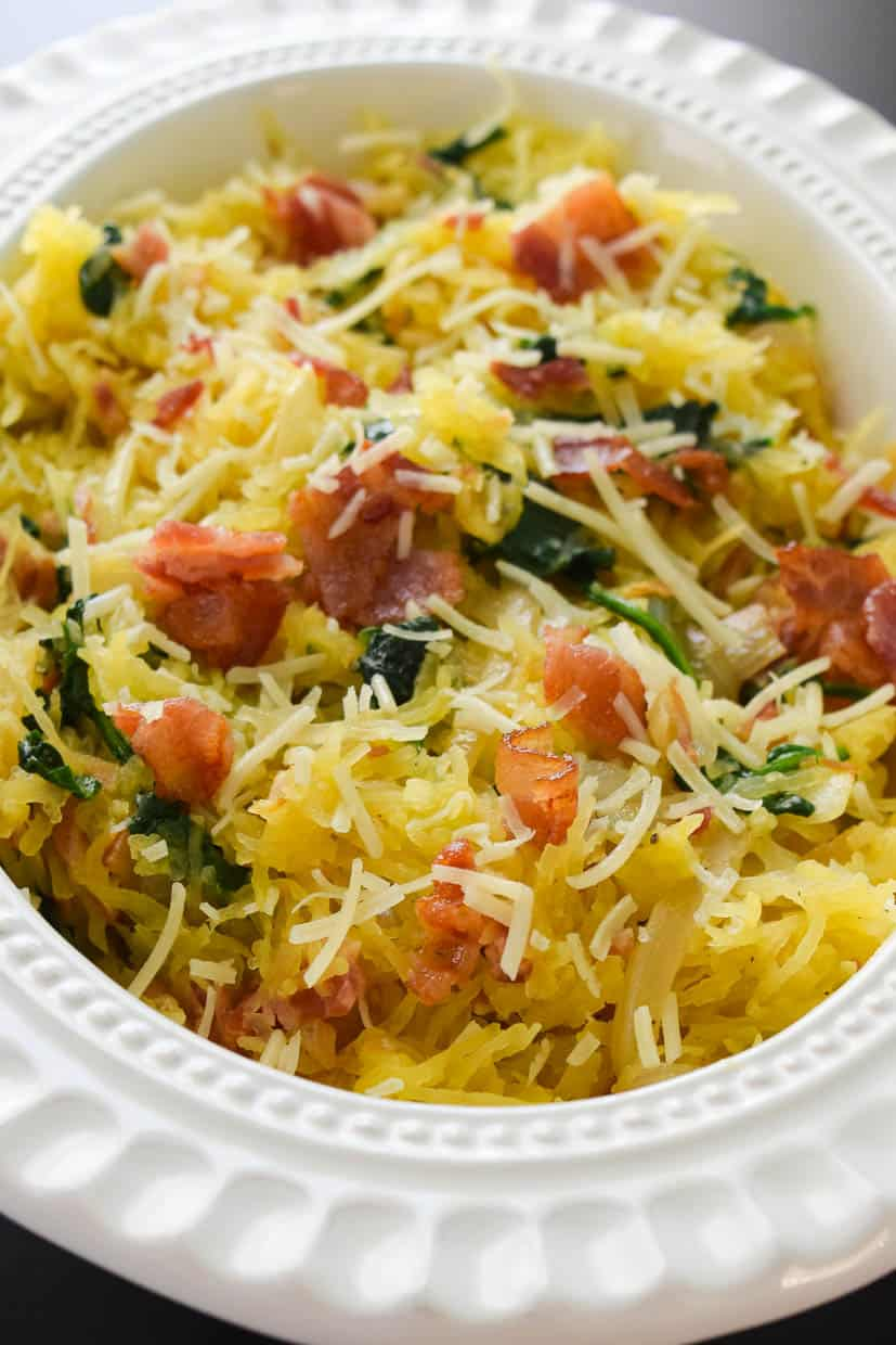 Spaghetti Squash Florentine in white bowl ready to be served