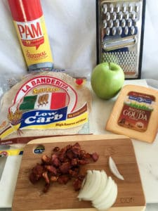 gouda bacon onion apple quesadillas