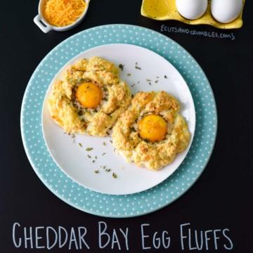 Cheddar Bay Egg Fluffs with title written on chalkboard