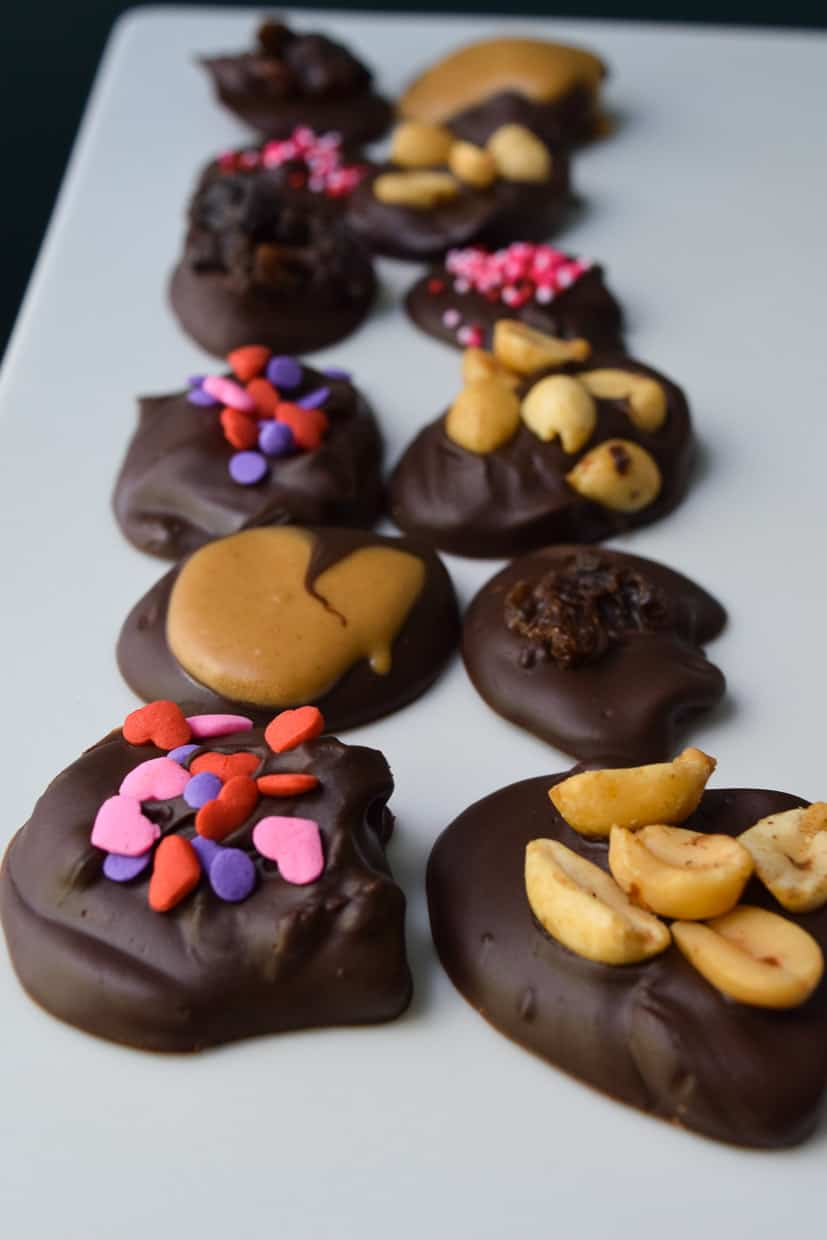 Dark Chocolate Discs with various toppings lined up in two rows on white platter close up view