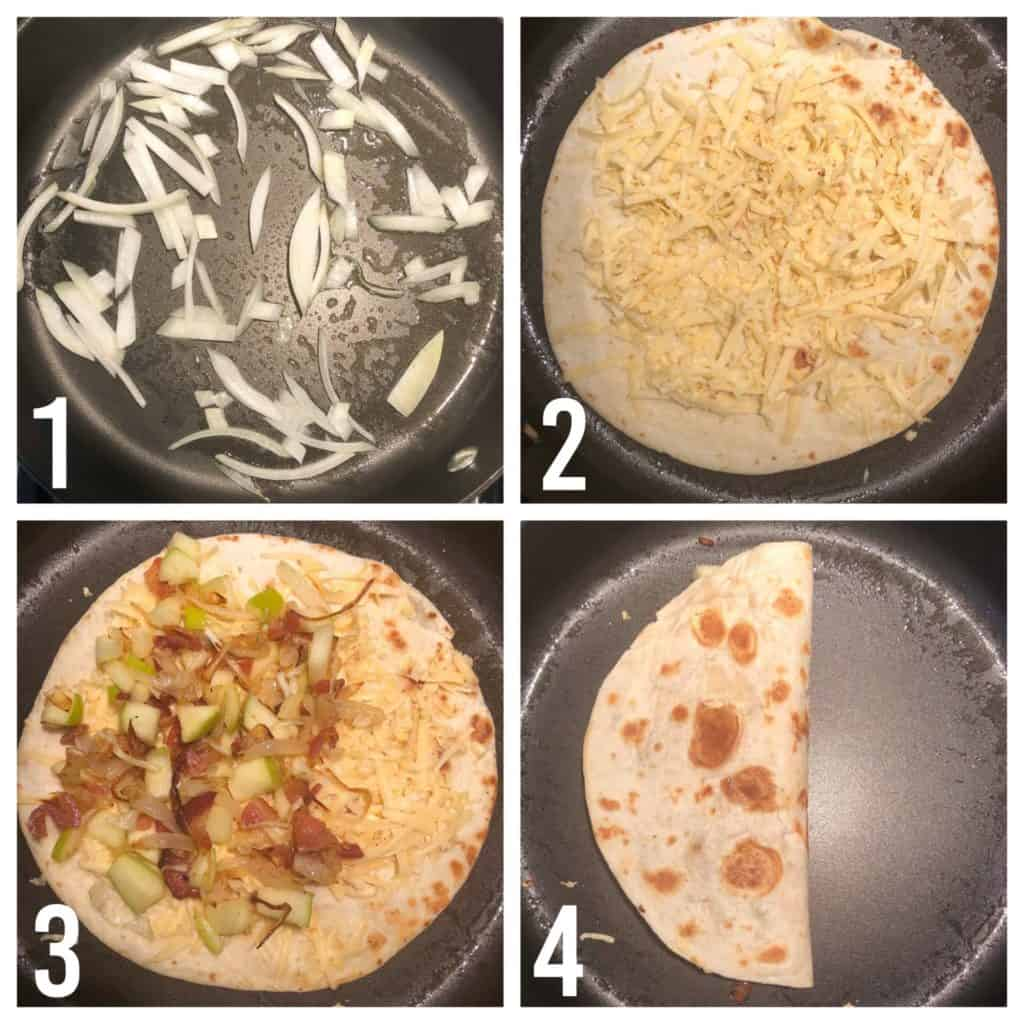 Gouda Bacon Onion Apple Quesadillas Collage of images showing how to make quesadilla in frying pan