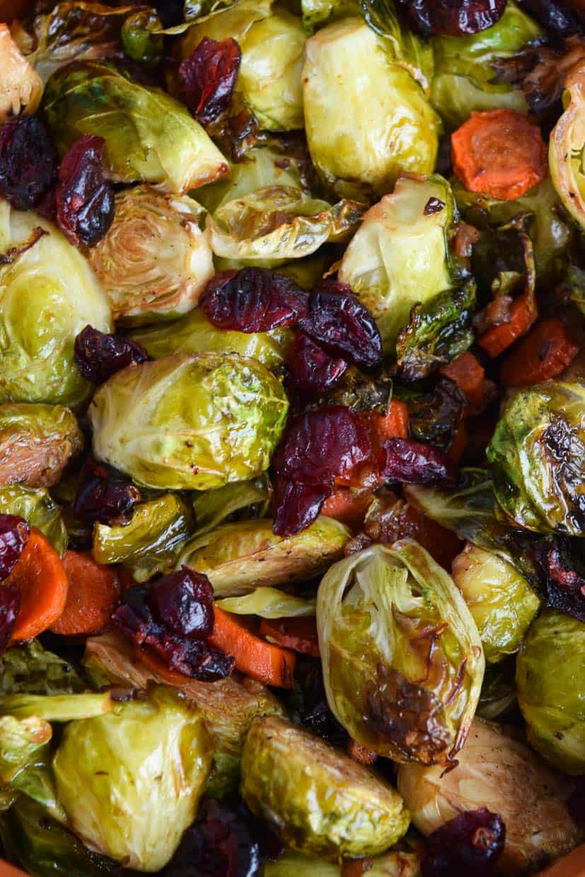 up close shot of roasted Brussels sprouts