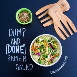 Dump and Done Ramen Salad with chalkboard writing