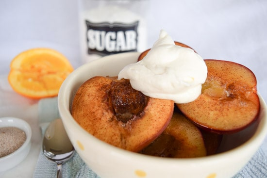 roasted plums and peaches