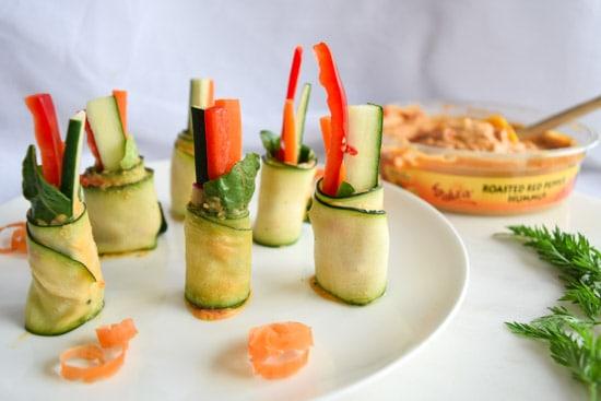 Zucchini Hummus Veggie Rolls