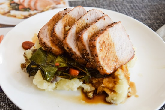 blue apron roast pork with mashed potatoes side view