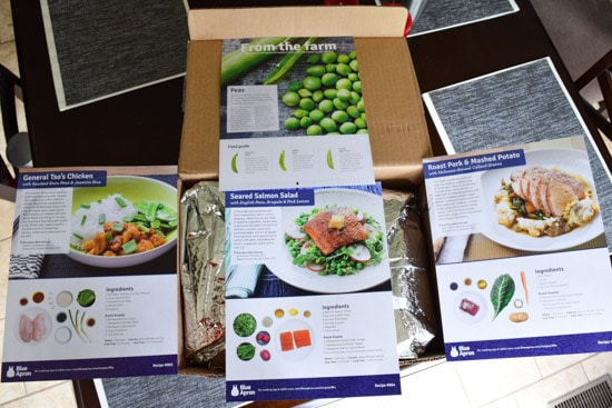 blue apron recipe cards on top of box overhead shot
