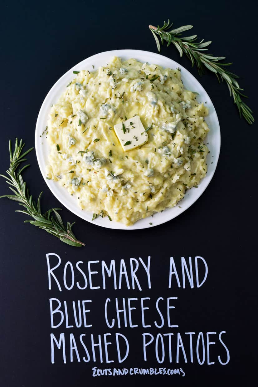 Rosemary and Blue Cheese Mashed Potatoes with title written on chalkboard
