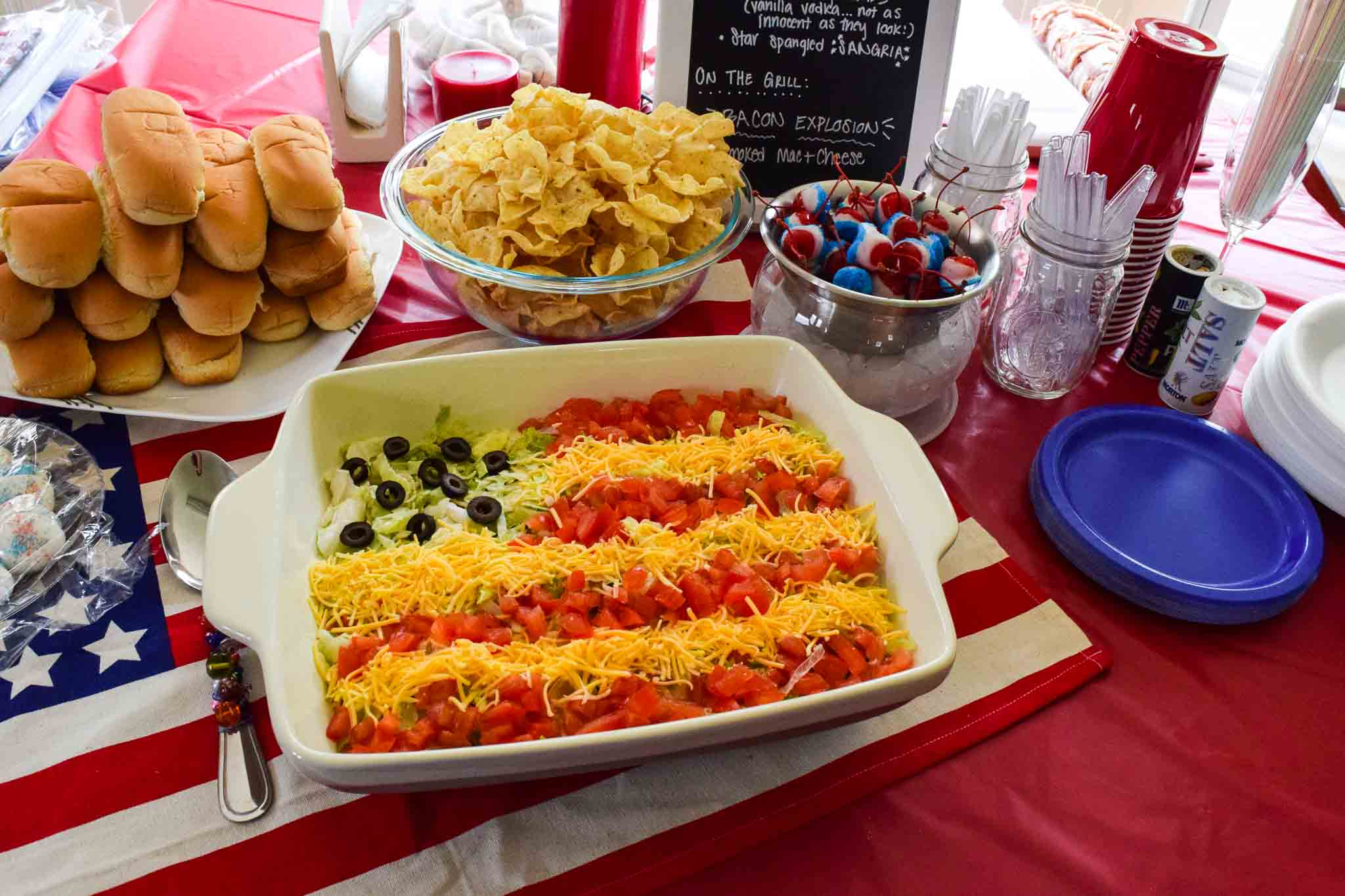 Memorial Day or July 4th party spread with flag dip hot dog buns red white and blue cherries