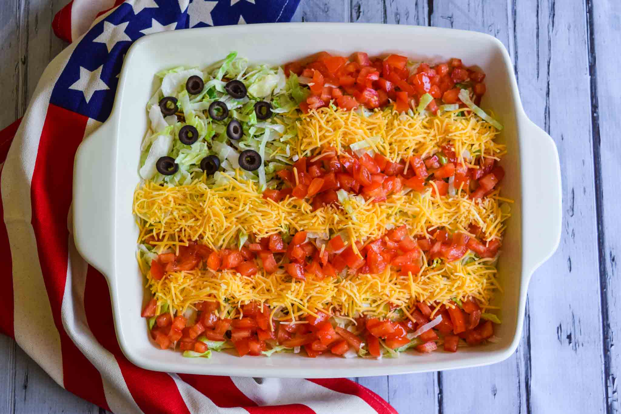 taco dip flag cuts and crumbles