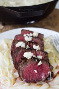 steak with blue cheese onions