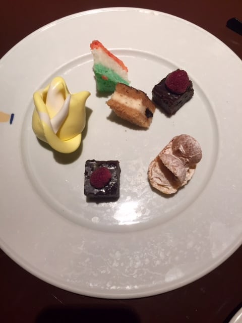 Plate of a variety of bite-sized desserts
