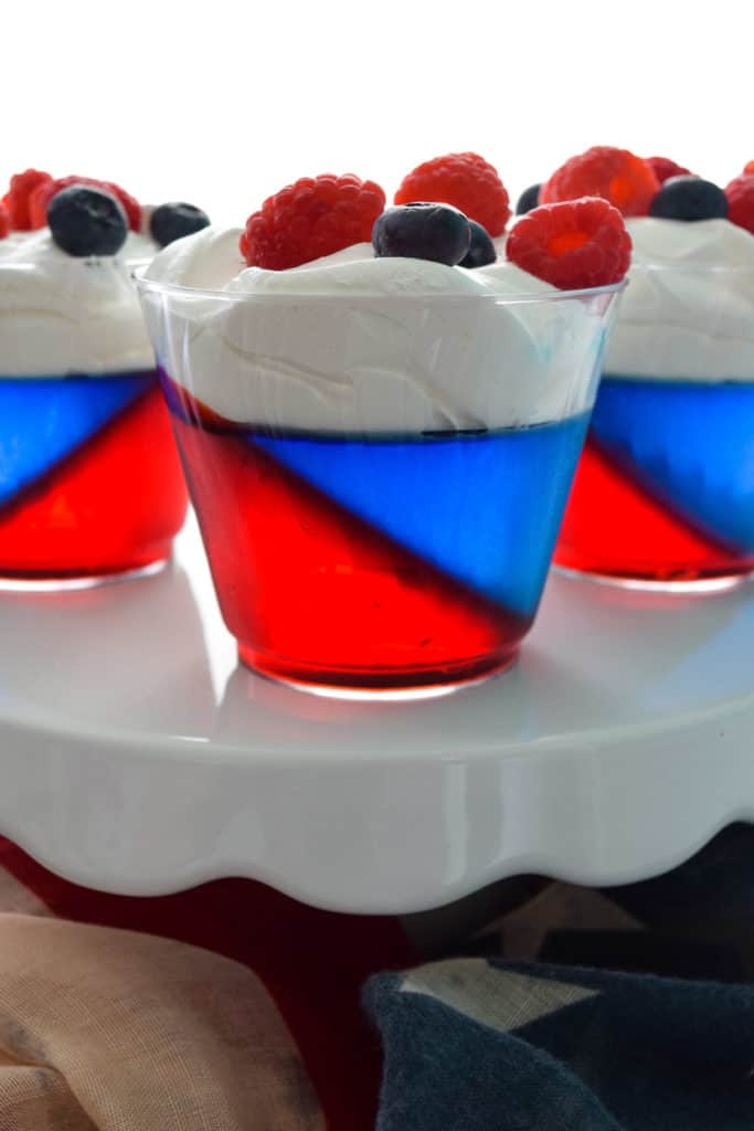 close up of Red white and Blue Jell-O Cups