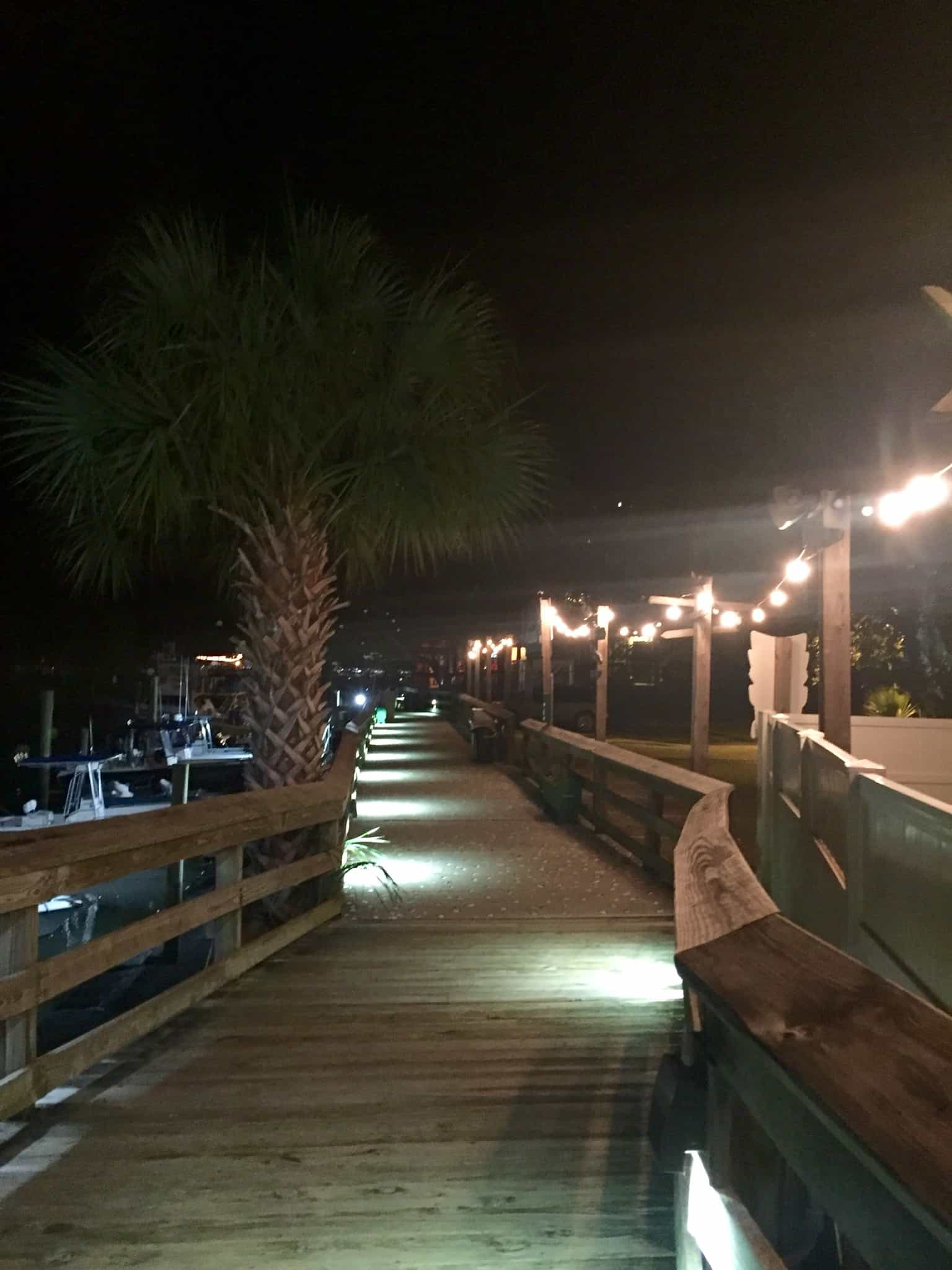 Murrell's Inlet boardwalk at night