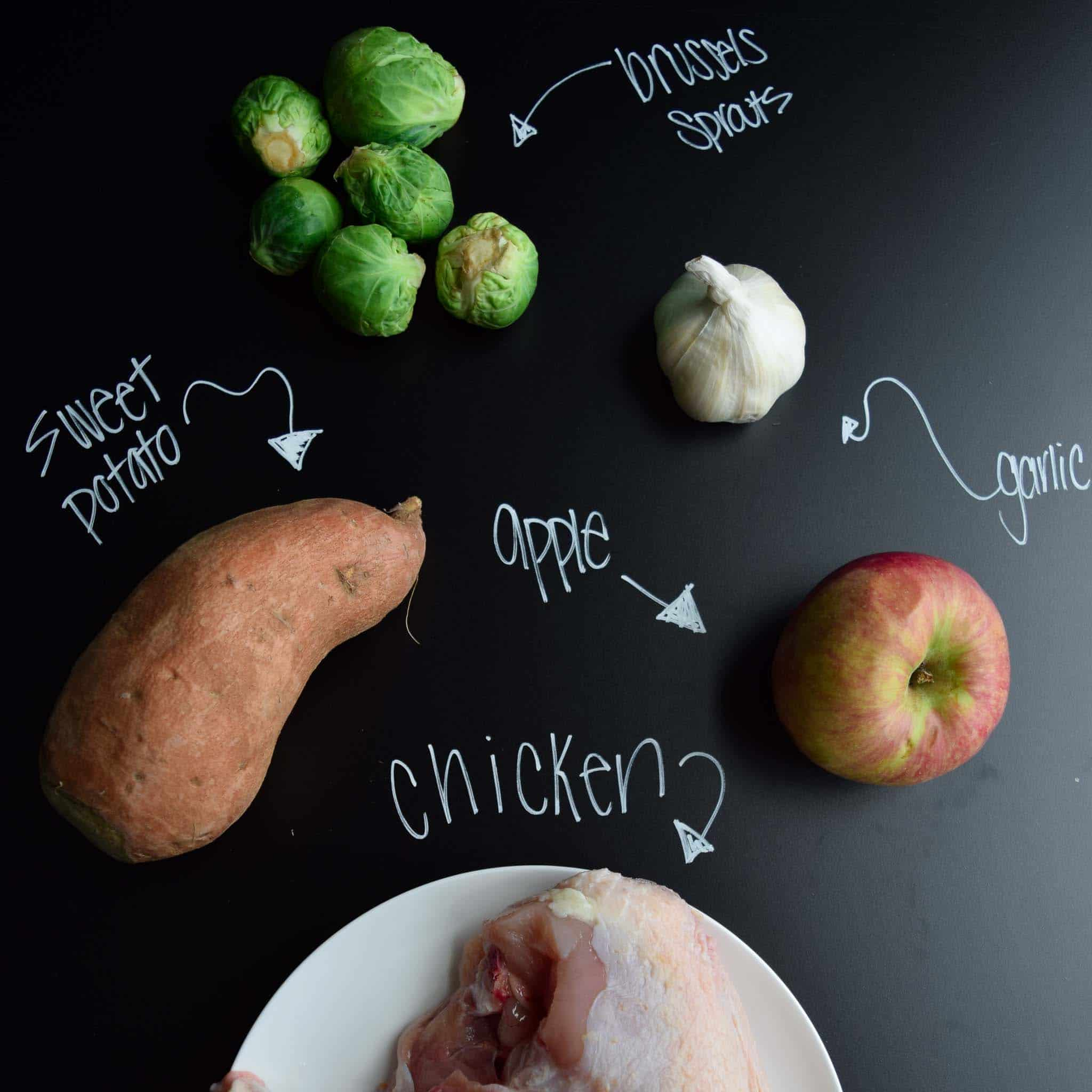 one pan harvest chicken ingredients on chalkboard