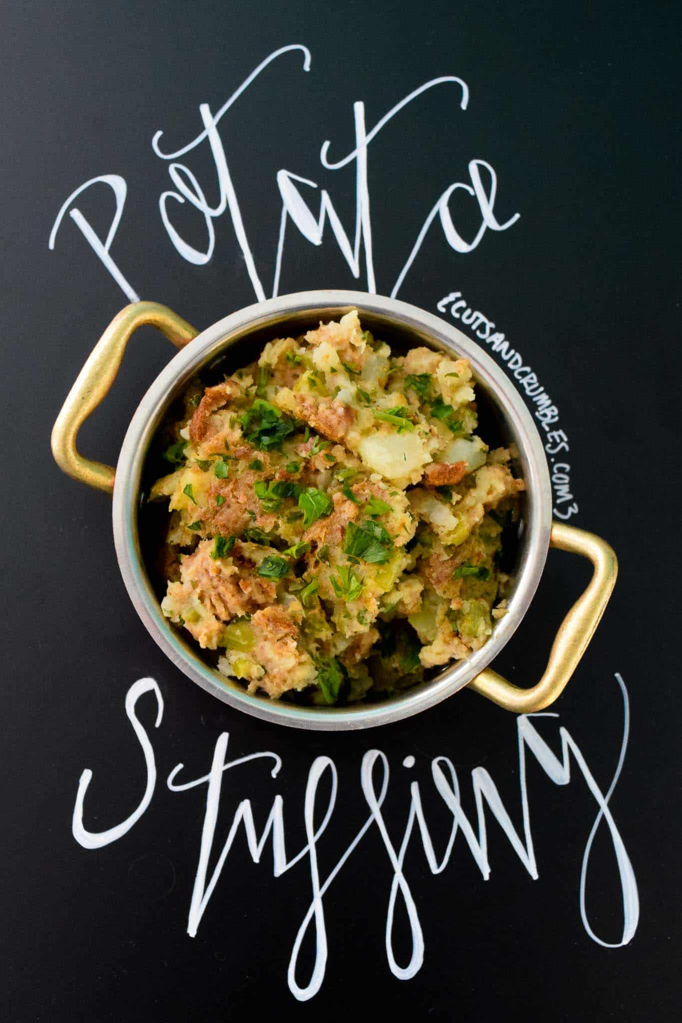 Potato Stuffing with title written on chalkboard