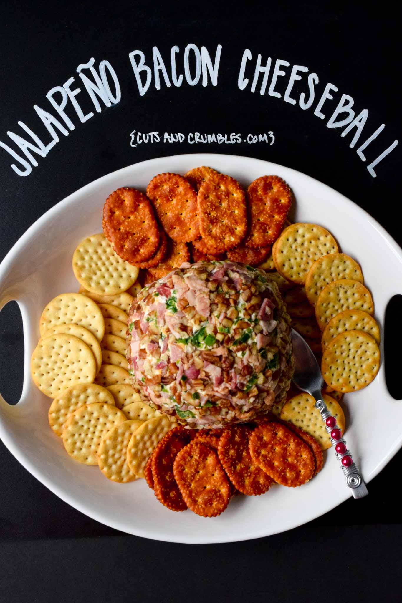 Jalapeño Bacon Cheeseball with title written on chalkboard