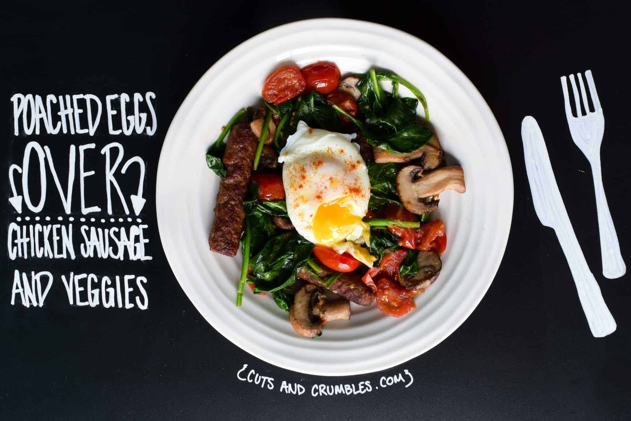 Poached Eggs Over Chicken Sausage and Veggies with title written on chalkboard