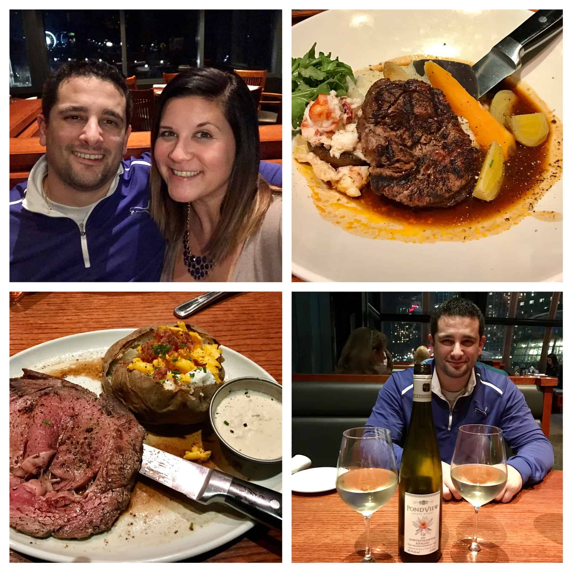 Collage of Caitlin and Andrew at dinner and steak meals