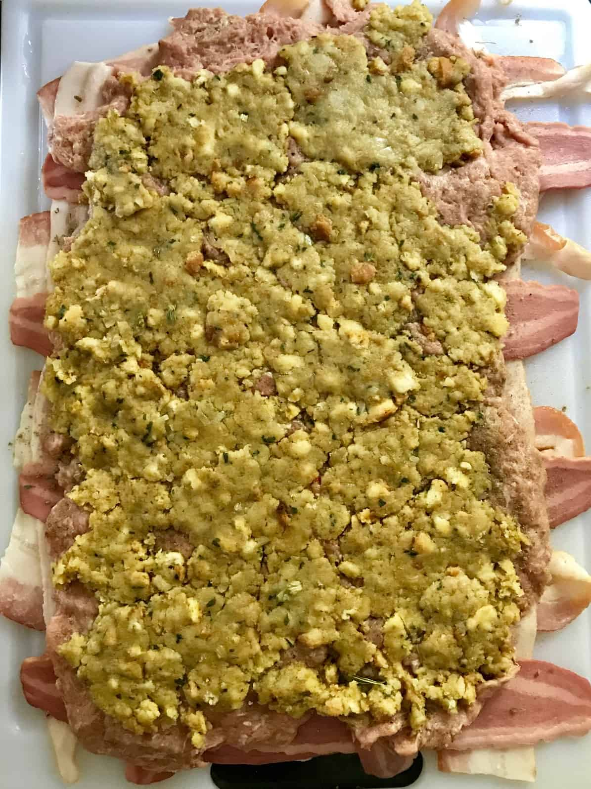 Bacon weave covered with stuffing overhead shot