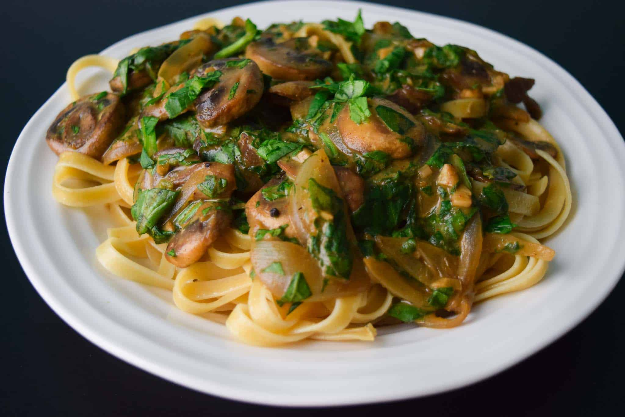 Spinach and Mushroom Fettuccine