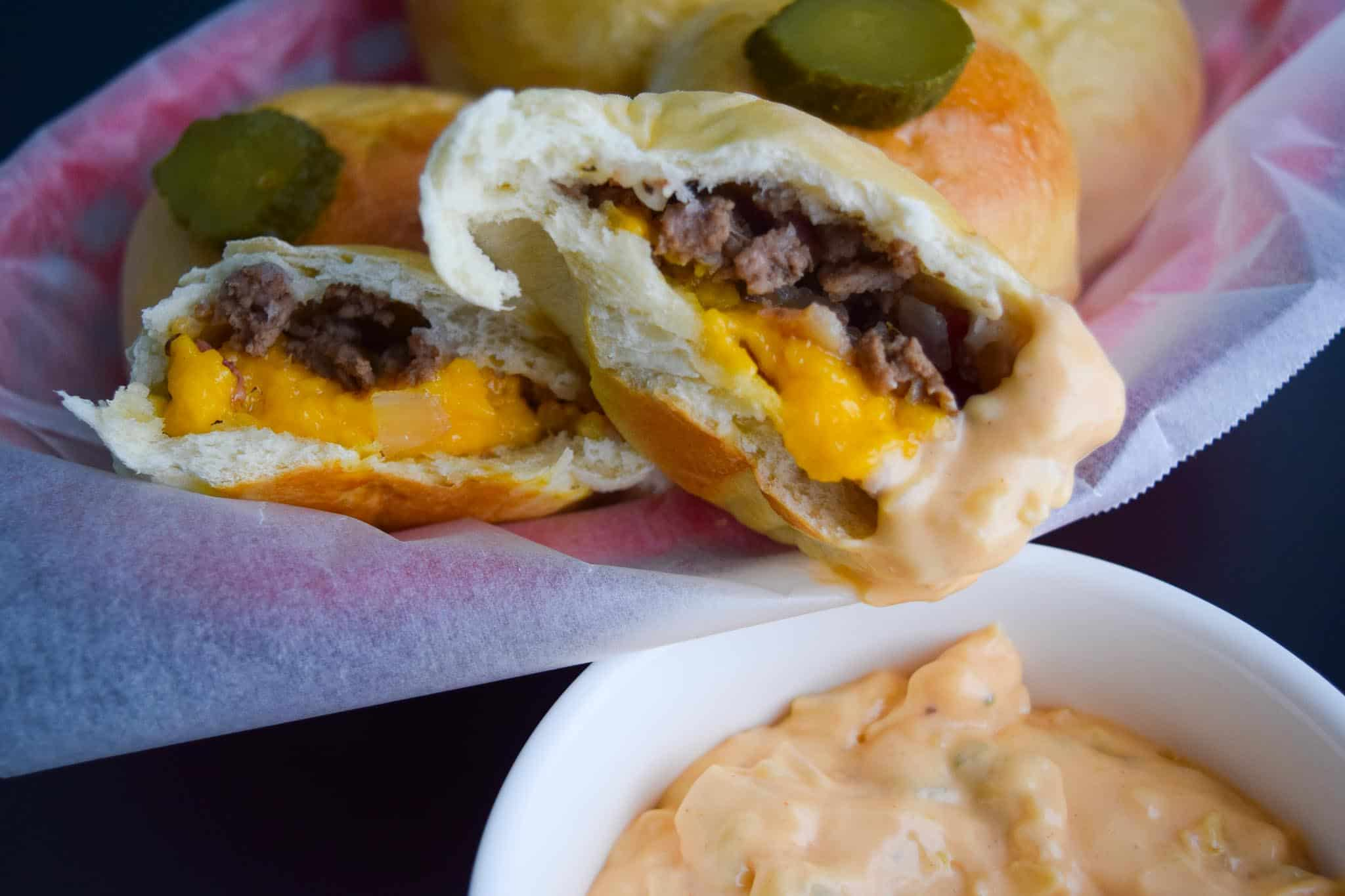 Bacon Cheeseburger Bombs with Big Mac Sauce