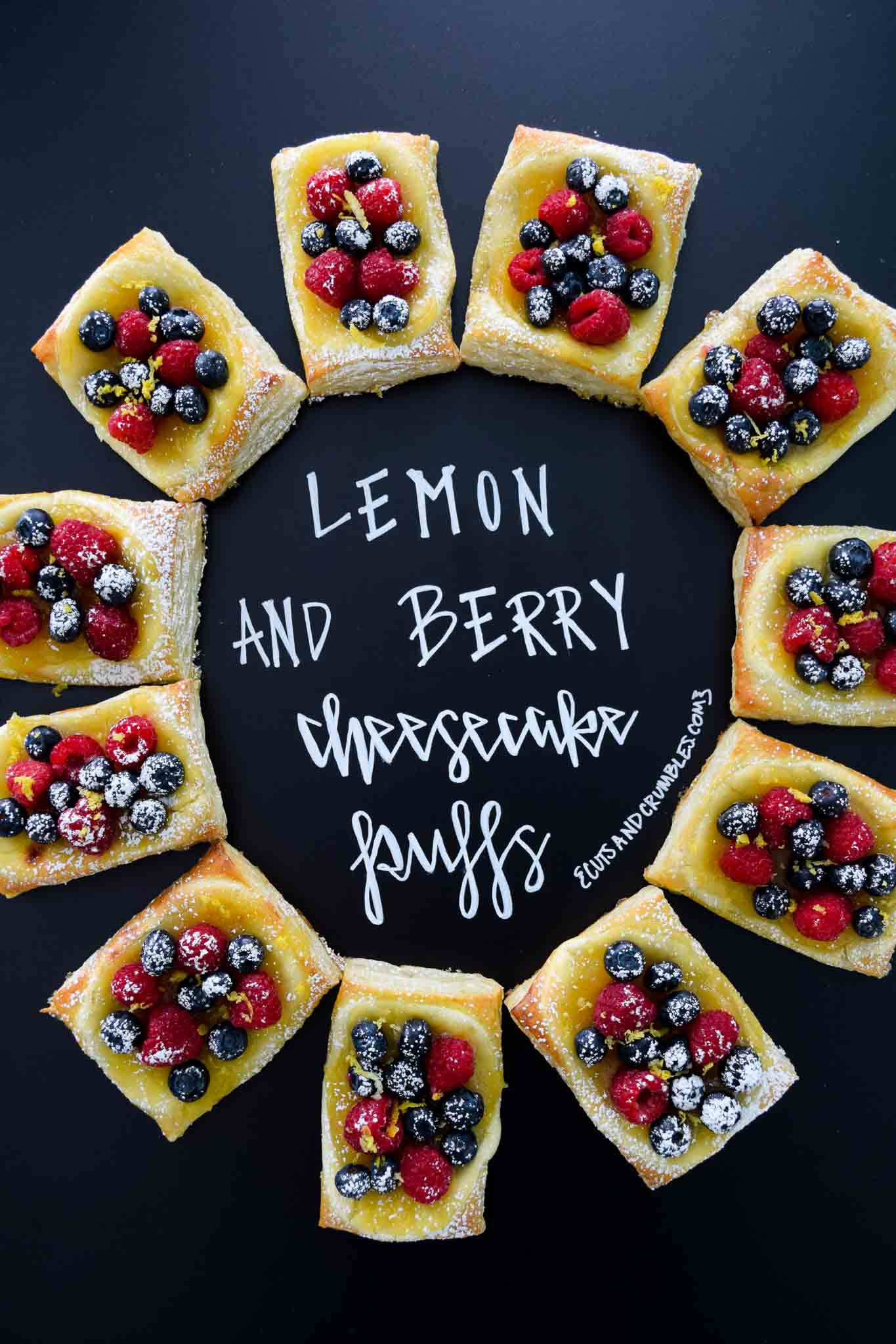 Lemon and Berry Cheesecake Puffs with title written on chalkboard