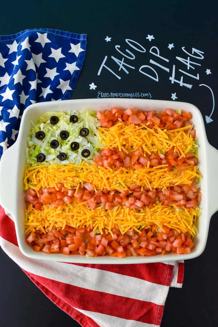 Dip decorated like an American Flag with title written on chalkboard