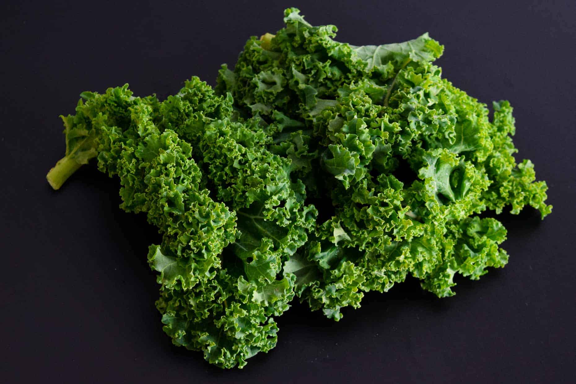 Kale on black background