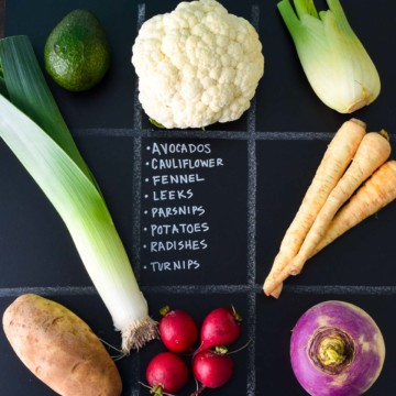 February Seasonal Produce Guide with produce in quadrants on chalkboard