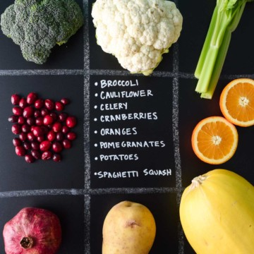 December Seasonal Produce Guide with produce in quadrants on chalkboard