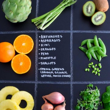 March Seasonal Produce Guide with produce in quadrants on chalkboard