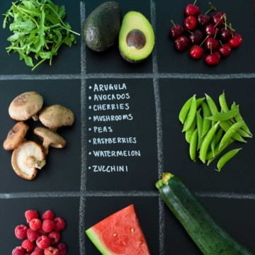 June Seasonal Produce Guide with produce in quadrants on chalkboard