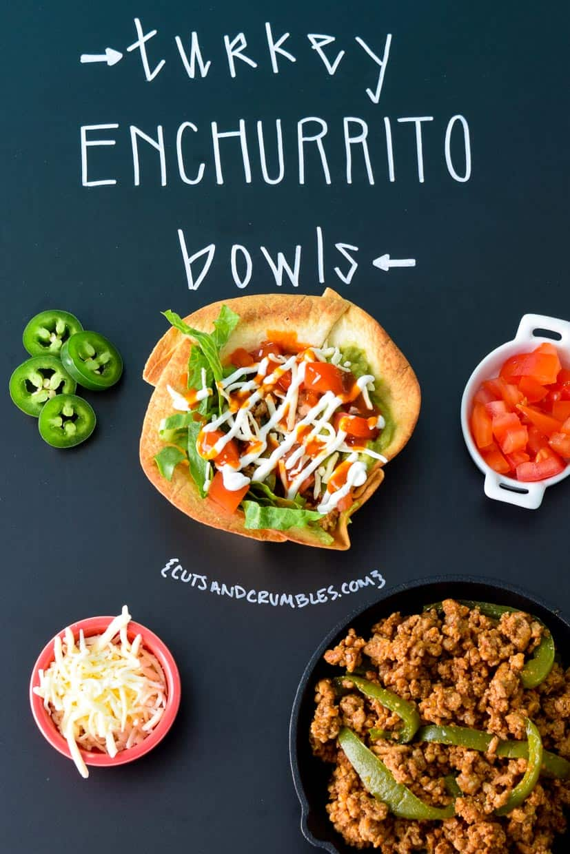 Turkey Enchurrito Bowls with ingredients on chalkboard with title written