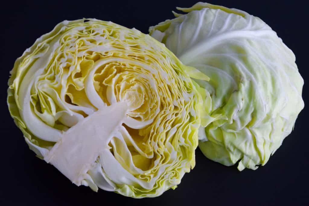 head of cabbage sliced in half on black background