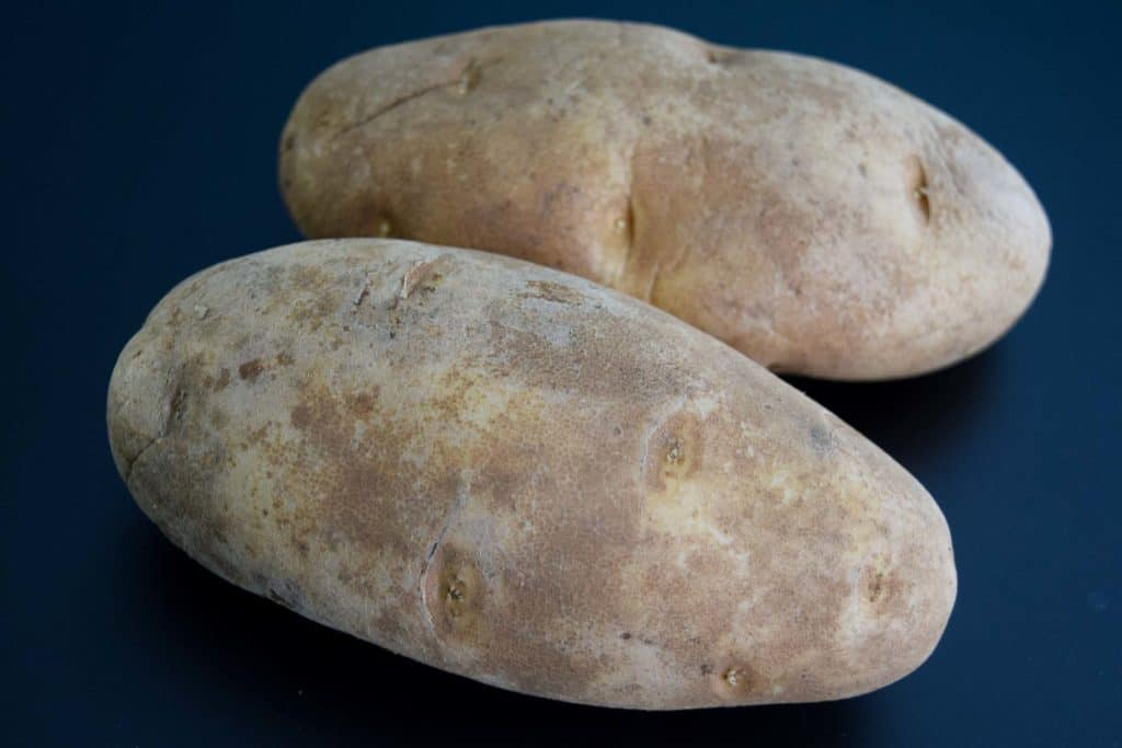 two russet potatoes on black background