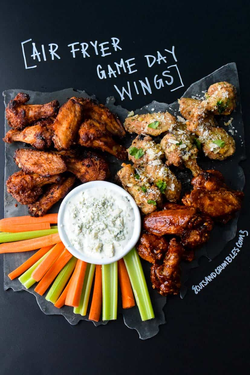 Air Fryer Game Day Wings on Ohio shaped platter with title written on chalkboard