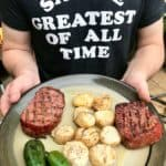 Smoked scallops with steak and jalapeños on plate ready to be served