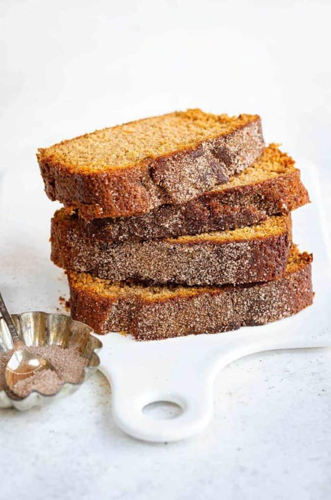 stack of sliced cinnamon apple bread