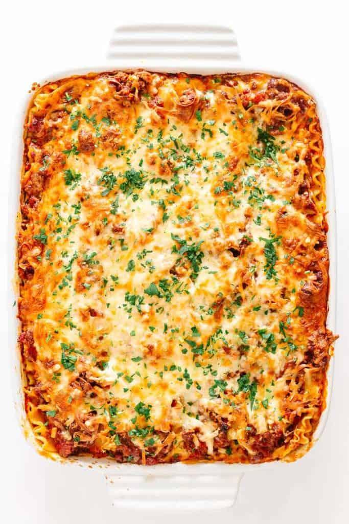 white pan of lasagna