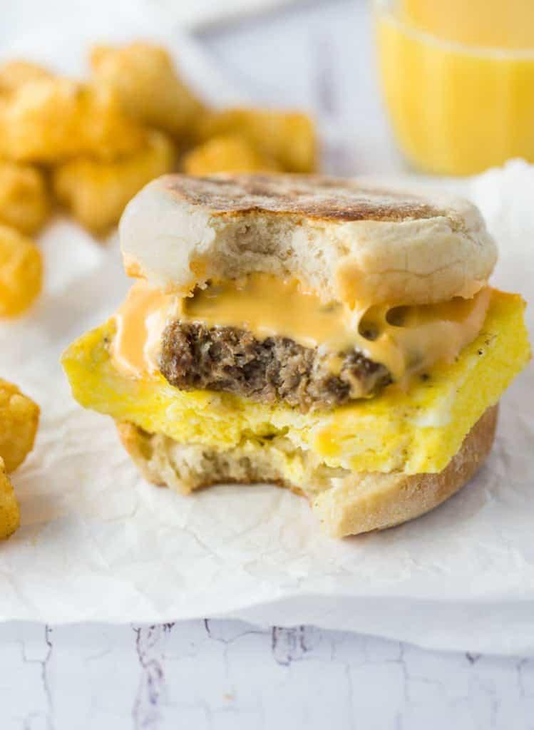 breakfast sandwich with bite missing