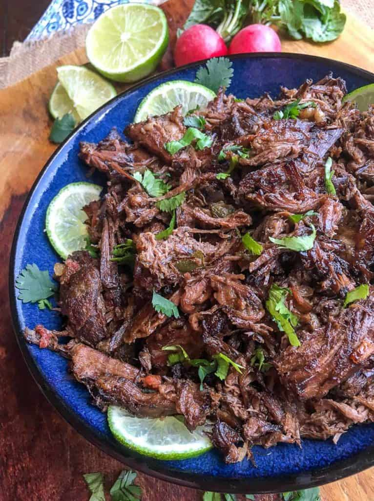 shredded beef on blue plate