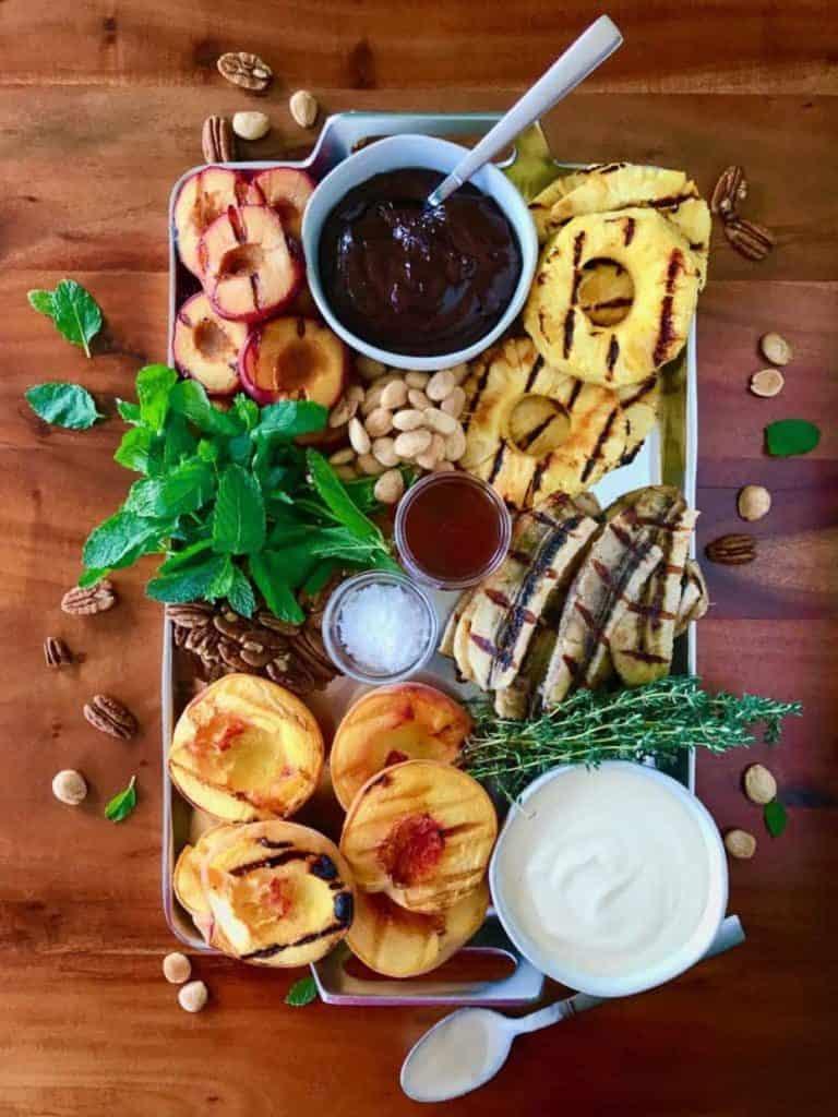 grilled fruit on platter