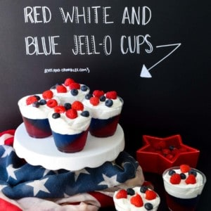 Red white and blue jell-o cups with title written on black background
