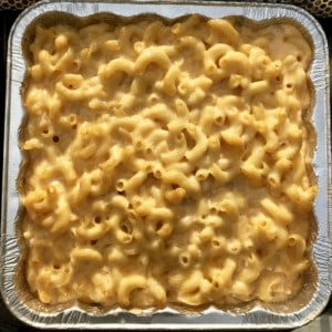 Smoked Mac and cheese in foil pan overhead shot