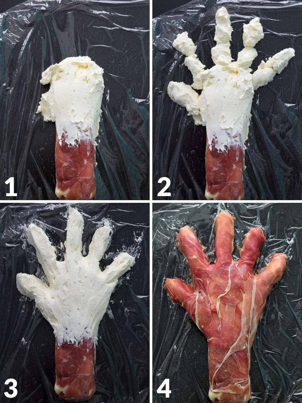 Collage of four images showing how to make hand structure out of cream cheese and prosciutto