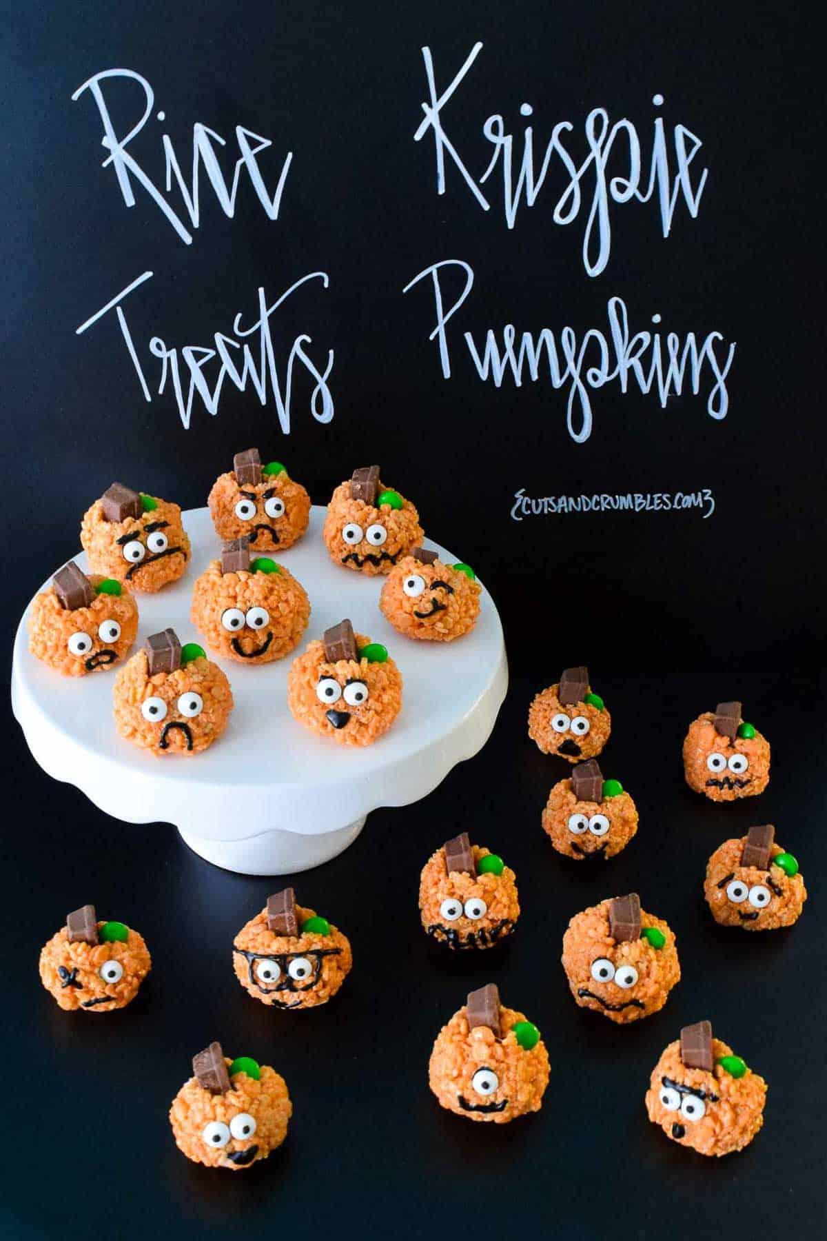 Rice Krispie Treats Pumpkins with title written on chalkboard