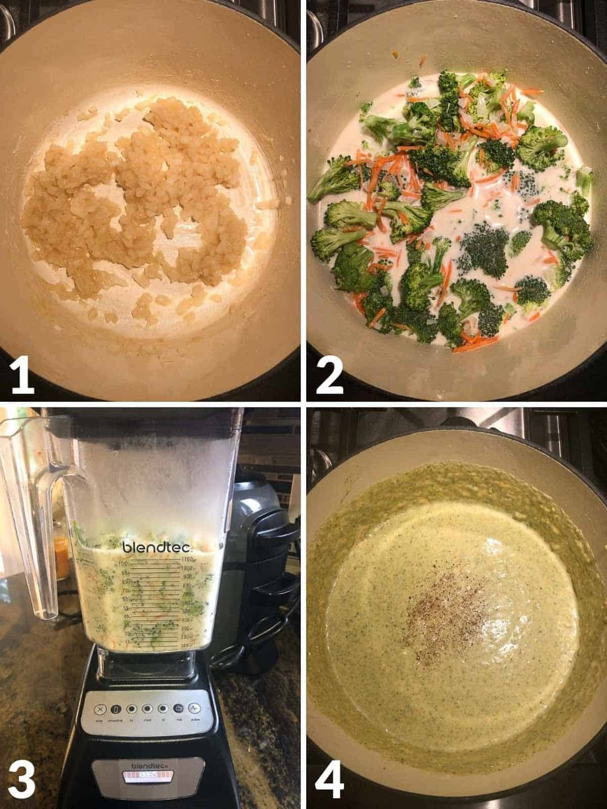 Collage of 4 images showing how to make broccoli cheddar soup