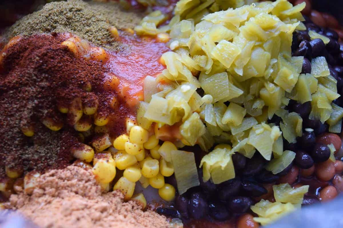 Crockpot Chicken Mexi-Chili ingredients in crock pot close up